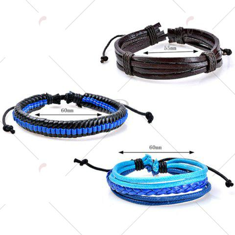 Cheap Beaded Faux Leather Woven Rope Bracelets Set - BLUE  Mobile