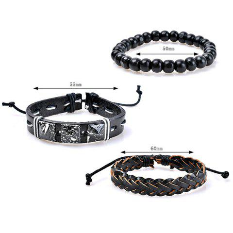 Chic Beaded Faux Leather Woven Friendship Bracelets - COLORMIX  Mobile
