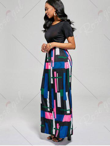 Outfits Floor Length Geometric Print A Line Dress - XL BLACK + ROSE Mobile