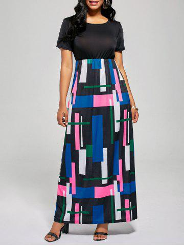 Chic Floor Length Geometric Print A Line Dress - XL BLACK + ROSE Mobile