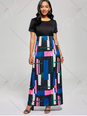 Latest Floor Length Geometric Print A Line Dress - XL BLACK + ROSE Mobile