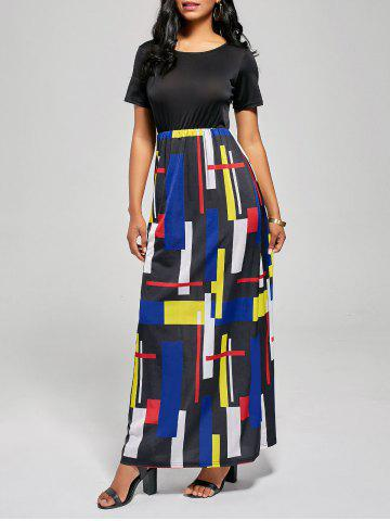 Outfit Floor Length Geometric Print A Line Dress - M BLACK AND RED Mobile