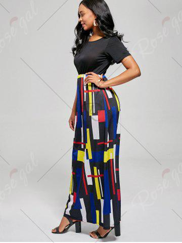 Shops Floor Length Geometric Print A Line Dress - L BLACK AND RED Mobile