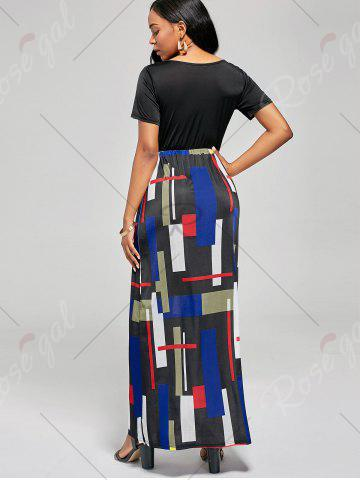 Outfit Floor Length Geometric Print A Line Dress - L BLACK AND RED Mobile