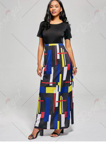 Online Floor Length Geometric Print A Line Dress - XL BLACK AND RED Mobile