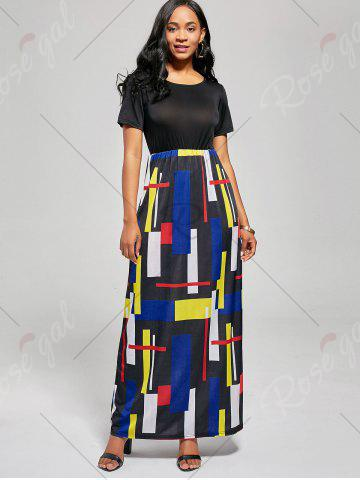 Outfit Floor Length Geometric Print A Line Dress - XL BLACK AND RED Mobile