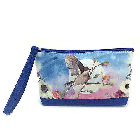 Fashion Suede Panel Cartoon Print Wristlet BLUE