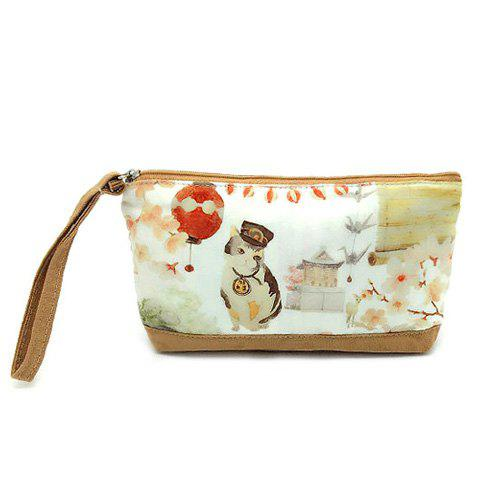 Outfits Suede Panel Cartoon Print Wristlet