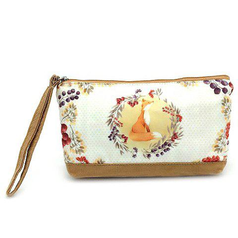 Buy Suede Panel Cartoon Print Wristlet