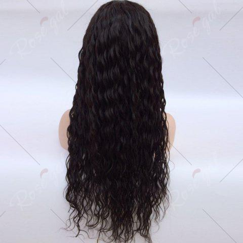 Online Free Part Long Natural Wave Lace Front Human Hair Wig - NATURAL BLACK  Mobile