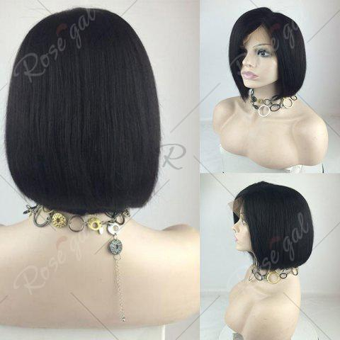 Store Short Straight Bob Side Part Lace Front Human Hair Wig - NATURAL BLACK  Mobile