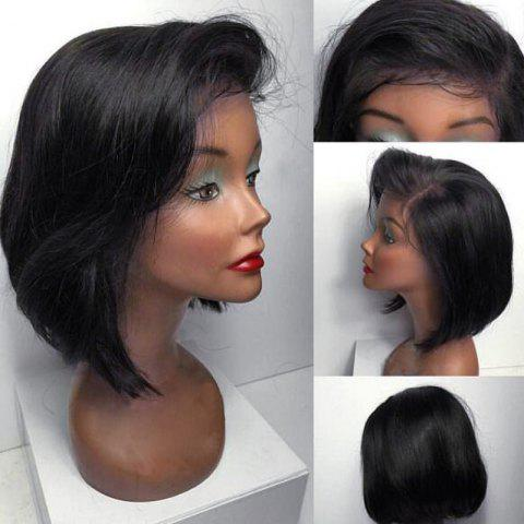 Online Short Straight Bob Side Part Lace Front Human Hair Wig - NATURAL BLACK  Mobile