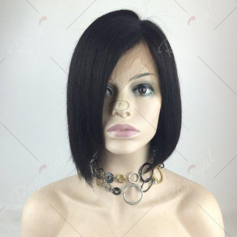 Buy Short Straight Bob Side Part Lace Front Human Hair Wig - NATURAL BLACK  Mobile