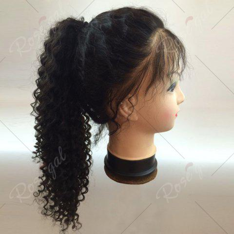 Buy Long Free Part Fluffy Deep Curly Lace Front Human Hair Wig - NATURAL BLACK  Mobile
