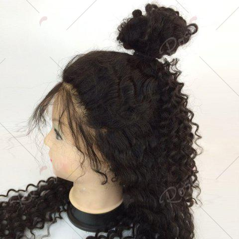 Hot Long Free Part Fluffy Deep Curly Lace Front Human Hair Wig - NATURAL BLACK  Mobile