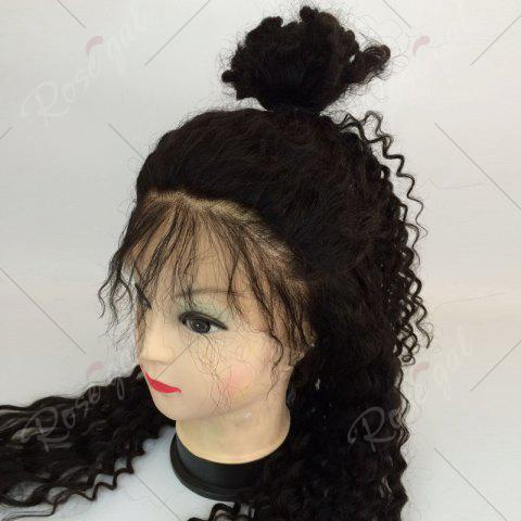 Fashion Long Free Part Fluffy Deep Curly Lace Front Human Hair Wig - NATURAL BLACK  Mobile