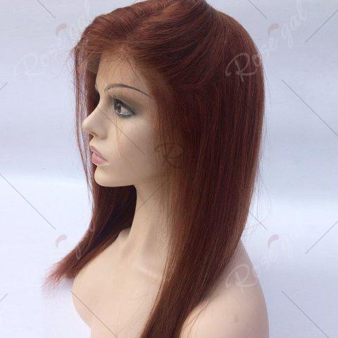 Affordable Long Free Part Glossy Straight Bob Lace Front Human Hair Wig - WINE RED  Mobile