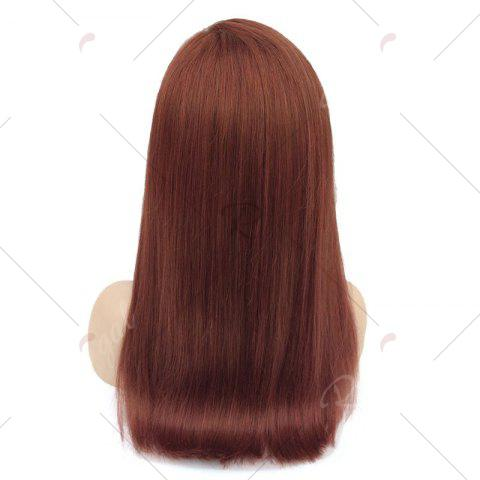 Trendy Long Free Part Glossy Straight Bob Lace Front Human Hair Wig - WINE RED  Mobile