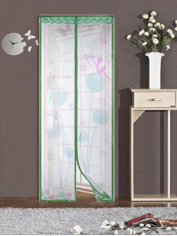 Fancy Mesh Breathable Curtain Anti Insects Magnetic Door Screen - 90*210CM GREEN Mobile