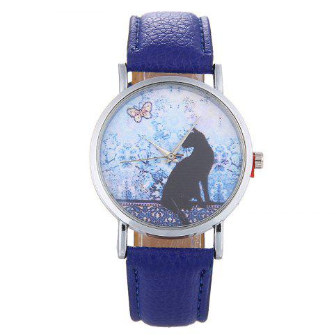 Cat Face Faux Leather Strap Quartz Watch Bleu