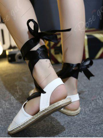 Outfit Espadrilles Tie Up Flat Heel Sandals - 39 WHITE Mobile