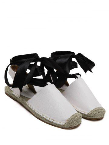 New Espadrilles Tie Up Flat Heel Sandals - 39 WHITE Mobile