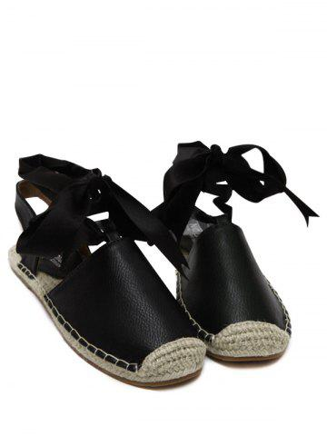 Discount Espadrilles Tie Up Flat Heel Sandals BLACK 38