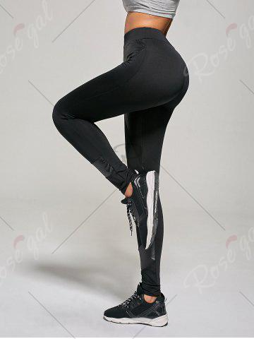 Discount PU Insert Tight Leggings - L BLACK Mobile