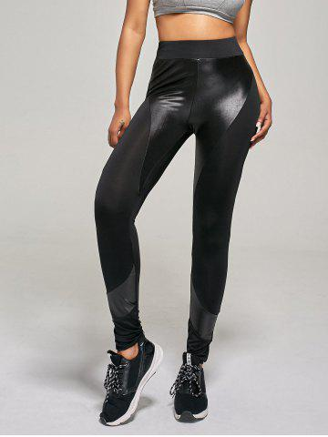 Online PU Insert Tight Leggings - L BLACK Mobile