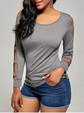 Latest Elegant Scoop Neck Solid Color Cut Out T-Shirt For Women GRAY XL