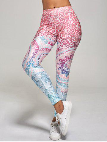 Outfit High Waisted Ankle Length Floral Print Leggings - S MULTI Mobile