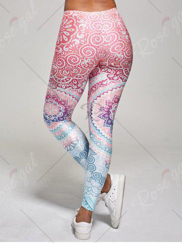 Outfits High Waisted Ankle Length Floral Print Leggings - M MULTI Mobile