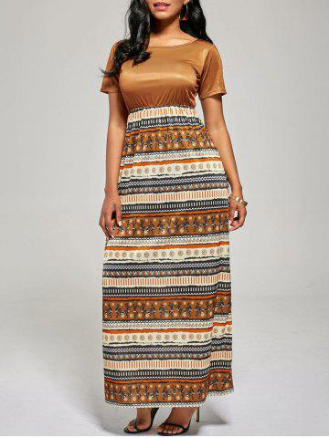 Outfit Floor Length A Line Boho Dress - S BROWN Mobile