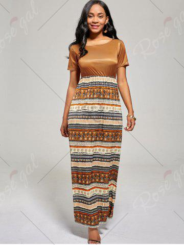 Unique Floor Length A Line Boho Dress - M BROWN Mobile