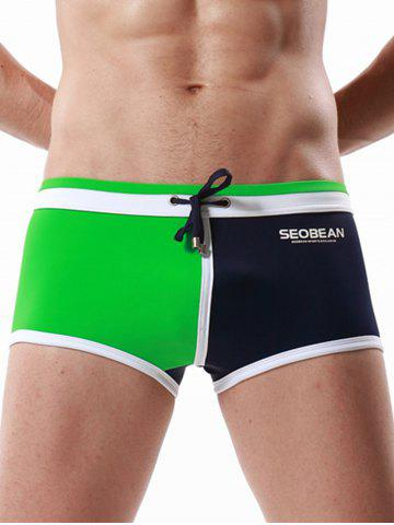 Outfits Drawstring Color Block Panel Pouch Swimming Trunks