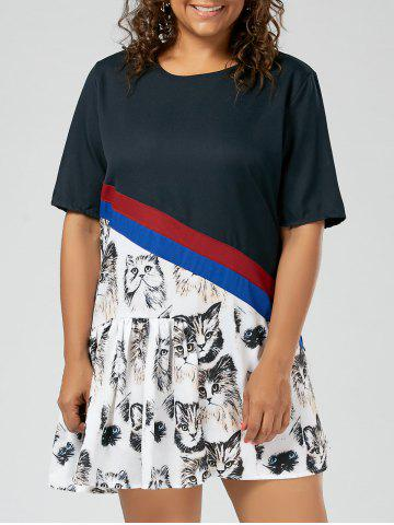 Plus Size Kitten Pattern Drop Waist Tee Dress - Black - 5xl