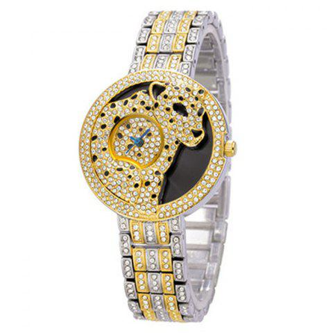 Rhinestone Leopard Alloy Strap Analog Watch - Silver And Golden