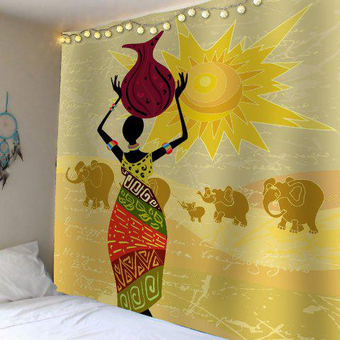 Colorful w51 inch l59 inch home decor african girl African elephant home decor