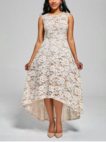Shop Floral High Low A Line Cocktail Dress - L WHITE Mobile