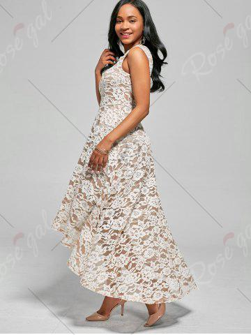Trendy Floral High Low A Line Cocktail Dress - 2XL WHITE Mobile