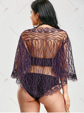 Latest Rope Embellished Sheer Beach Lace Cover Up - ONE SIZE PURPLE Mobile