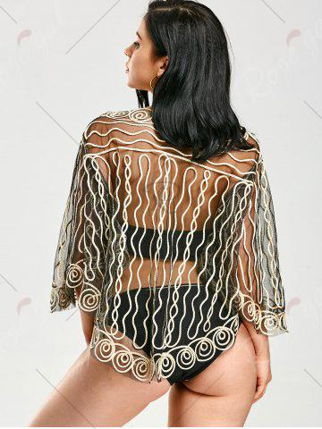 Online Rope Embellished Sheer Beach Lace Cover Up - ONE SIZE LIGHT GOLD Mobile