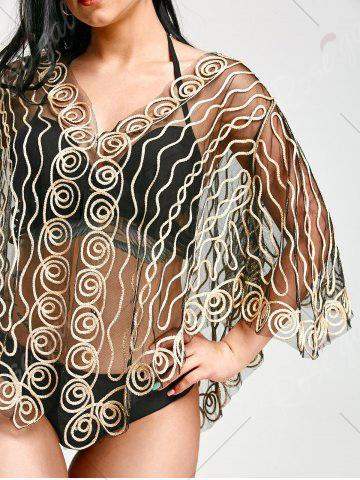 Latest Rope Embellished Sheer Beach Lace Cover Up - ONE SIZE LIGHT GOLD Mobile