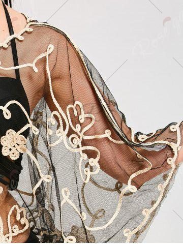 Latest Retro Wave Cut Lace Beach Cover Up - ONE SIZE CHAMPAGNE GOLD + BLACK  Mobile