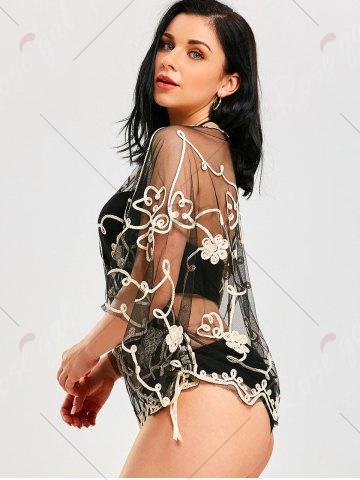 Sale Retro Wave Cut Lace Beach Cover Up - ONE SIZE CHAMPAGNE GOLD + BLACK  Mobile