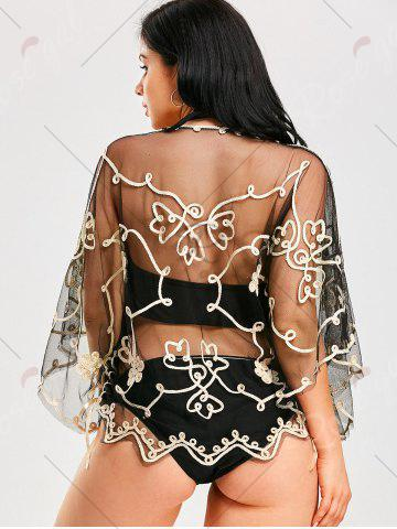 Online Retro Wave Cut Lace Beach Cover Up - ONE SIZE CHAMPAGNE GOLD + BLACK  Mobile