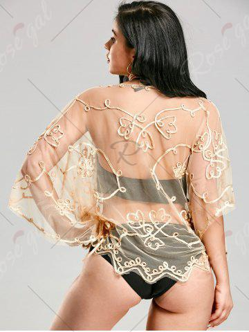 Cheap Retro Wave Cut Lace Beach Cover Up - ONE SIZE APRICOT Mobile