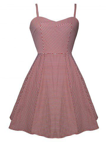 Vintage Spaghetti Strap High Low Striped Dress - Red With White - Xl