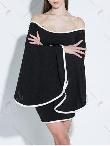 Store Off Shoulder Flare Sleeve Two Tone Dress - S BLACK Mobile