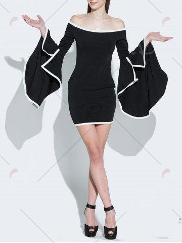Cheap Off Shoulder Flare Sleeve Two Tone Dress - S BLACK Mobile
